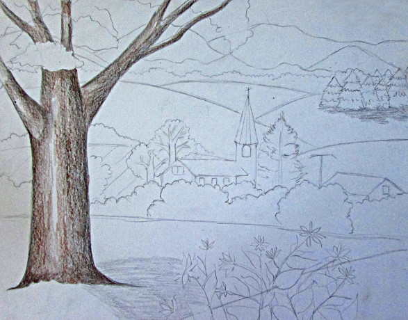 color pencil landscape drawing - Drawings To Paint