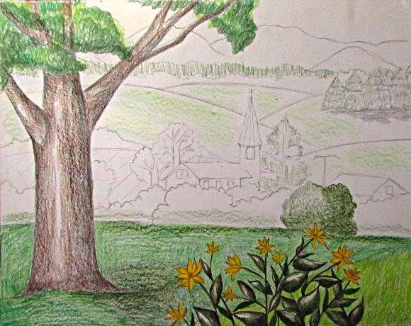 Color Pencil Landscape Drawing