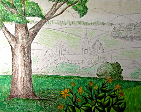 Colour pencil shading landscape