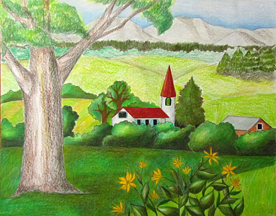 pencil drawings color pencil drawings of landscapes