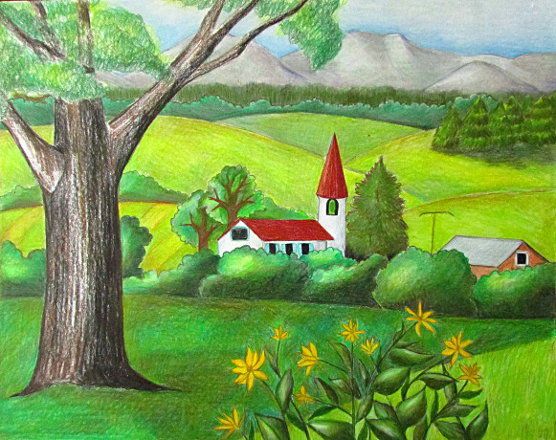 Color Pencil Landscape Drawing Ava360 Entertainment