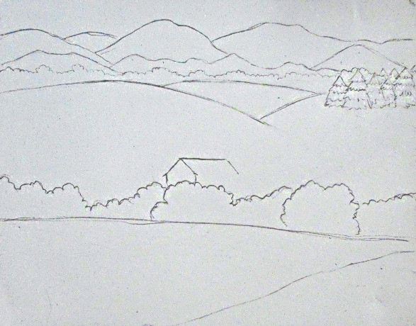 Line Drawing Landscape : Color pencil landscape drawing