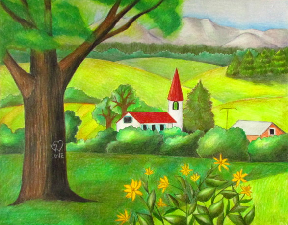 color pencil landscape drawing - Drawing Pictures For Colouring