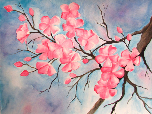 Cherry blossom watercolor painting for Cherry blossom mural works