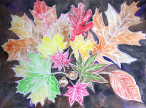 Crayon Resist Fall Leaves Art Lesson