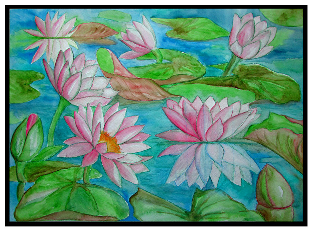 watercolor water lilies painting - Monet Coloring Pages Water Lilies