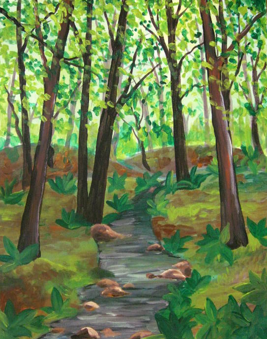 painting forest with acrylics images