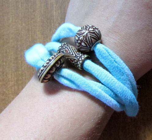 Recycled T-shirt Bracelet Tutorial