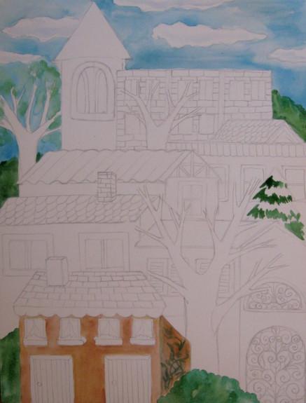 Watercolor Buildings Painting