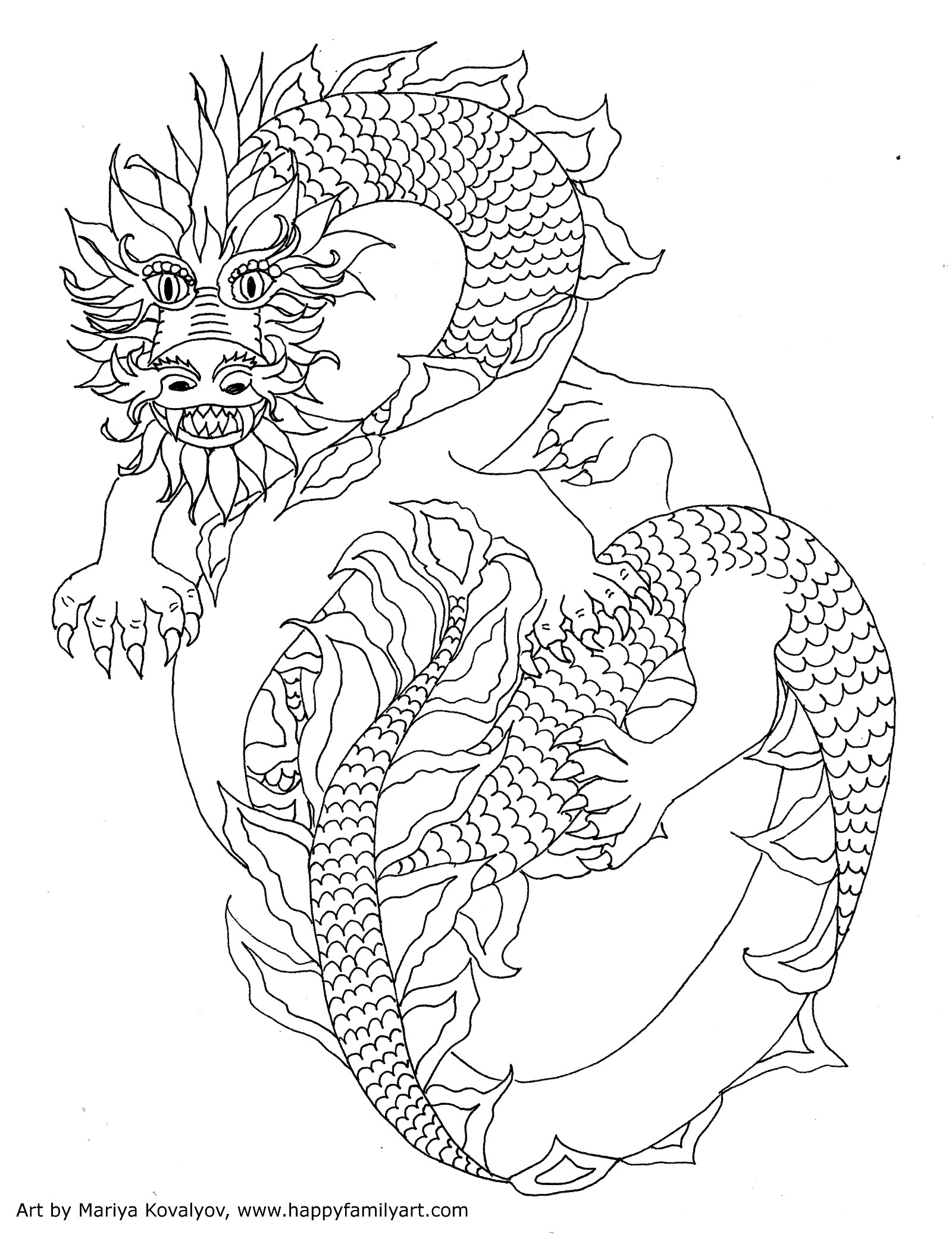 Adult colouring dragons frogs lizards snakes zentangles for Chinese new year dragon coloring page