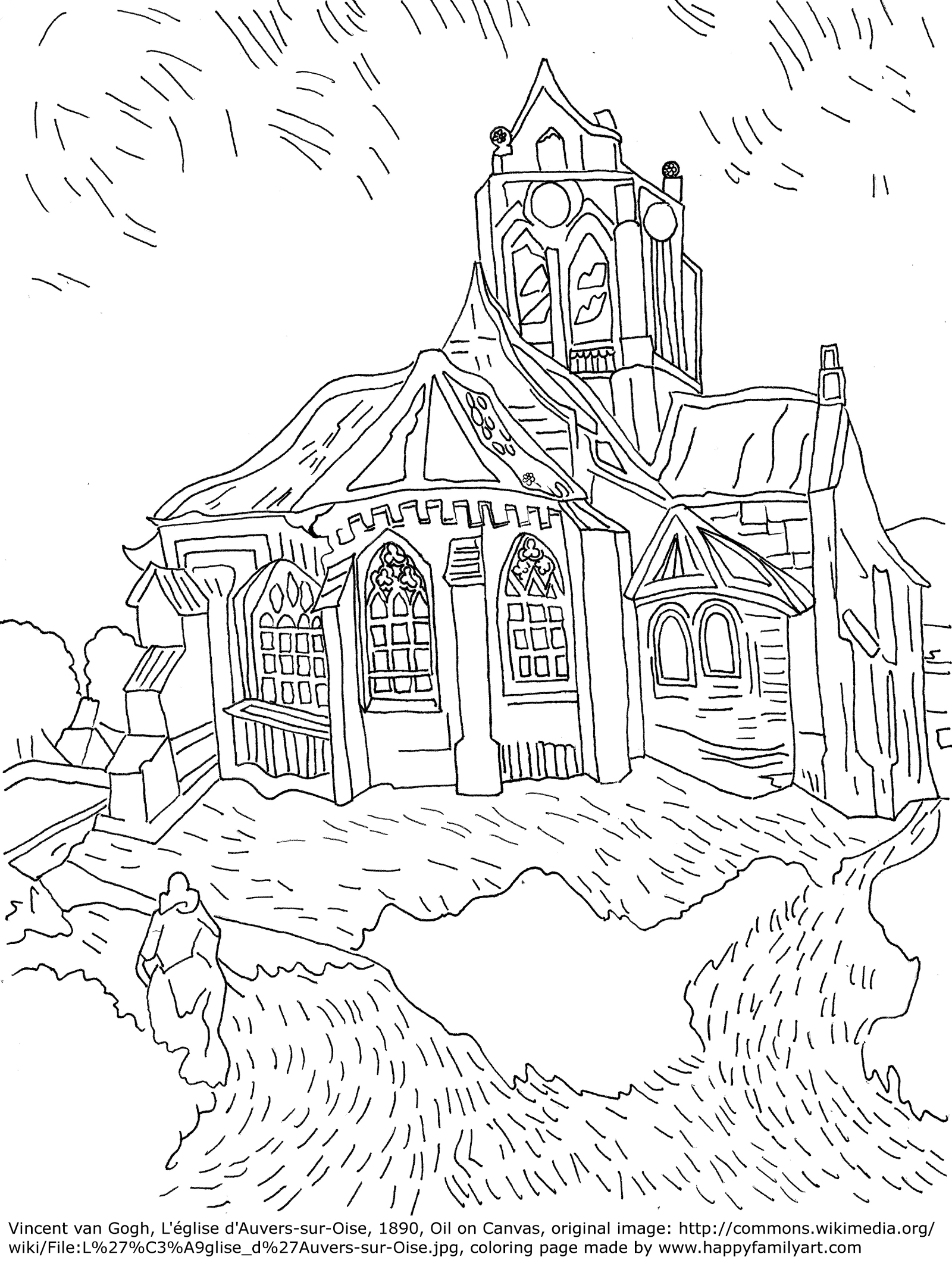 sketches of famous paintings coloring pages