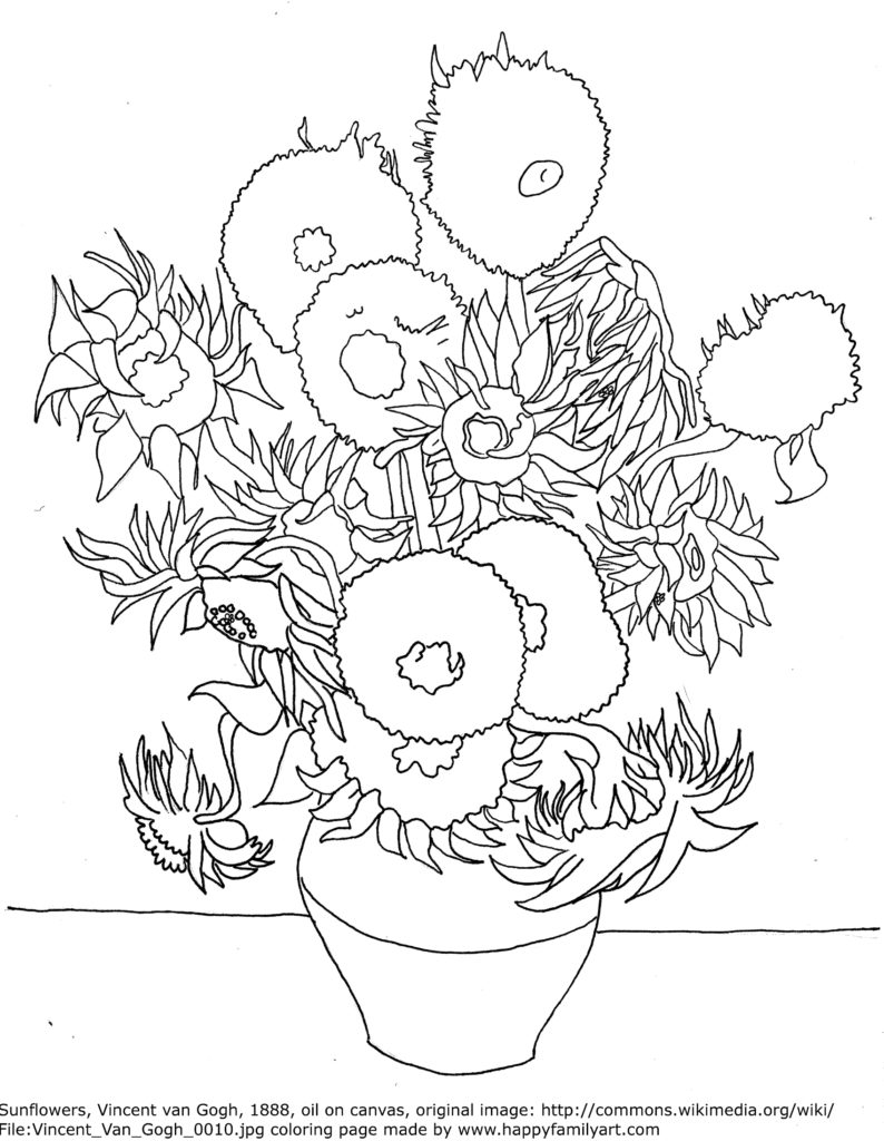free coloring pages of gogh sunflowers