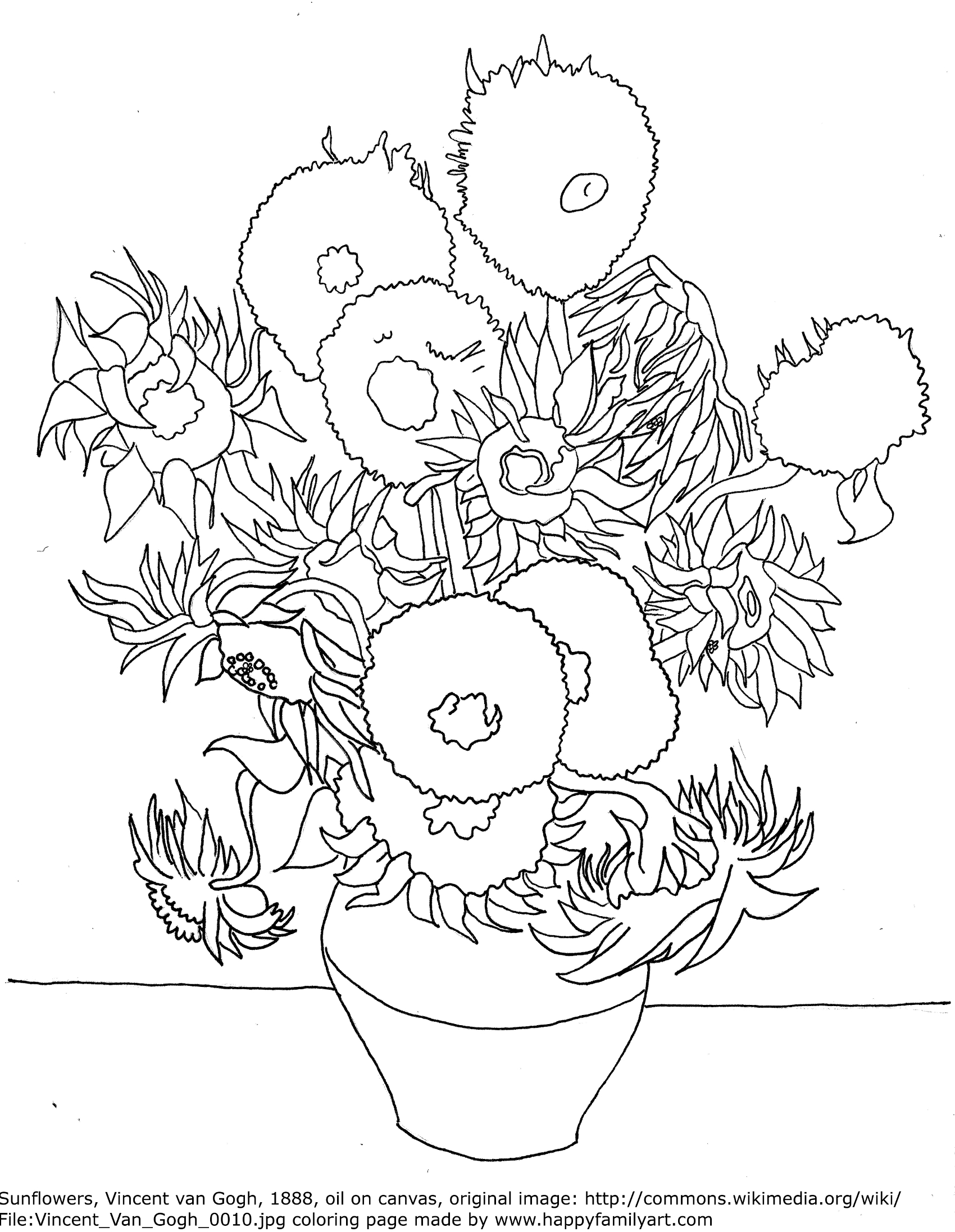 Coloring Pages Art : Famous paintings gogh coloring pages