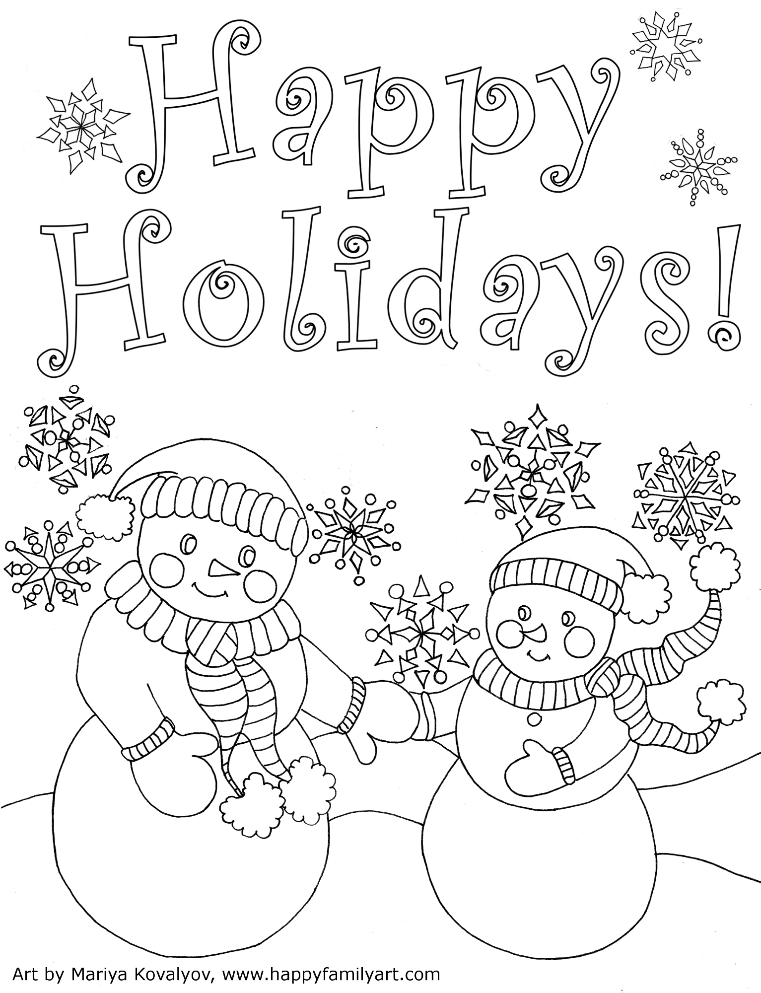 winter holiday coloring pages free - happy family art original and fun coloring pages