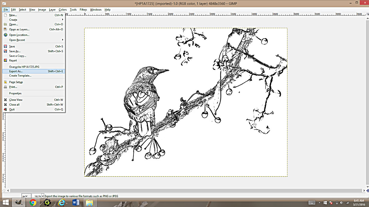 Making Coloring Pages From Photographs Using Gimp -