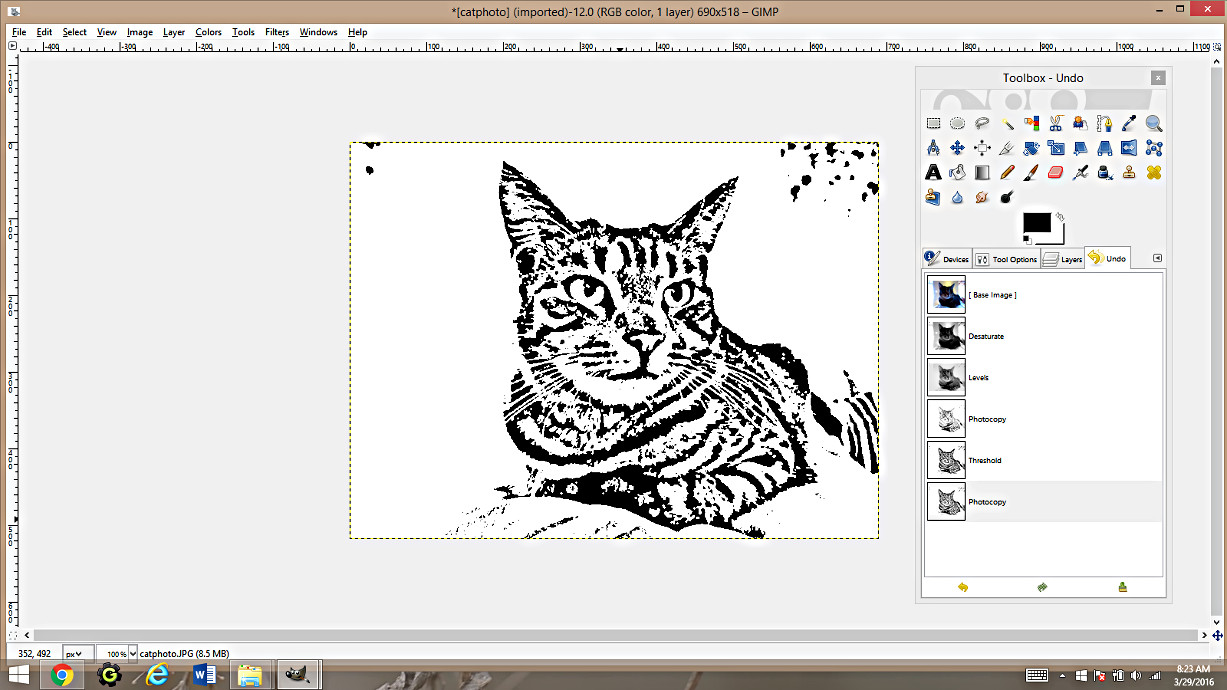 making coloring pages from photographs using gimp happy family art