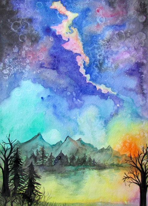purple orange space galaxy painting - photo #36