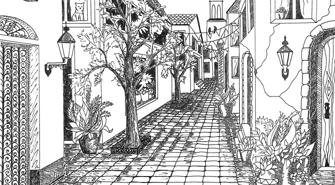 Single Line Box Art : Single point perspective drawing of a street