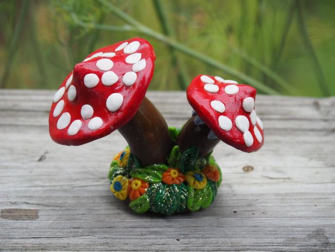 Clay Fairy Garden Creations mushrooms