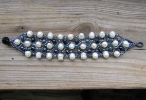 Beaded Black And White Pearl Bracelet