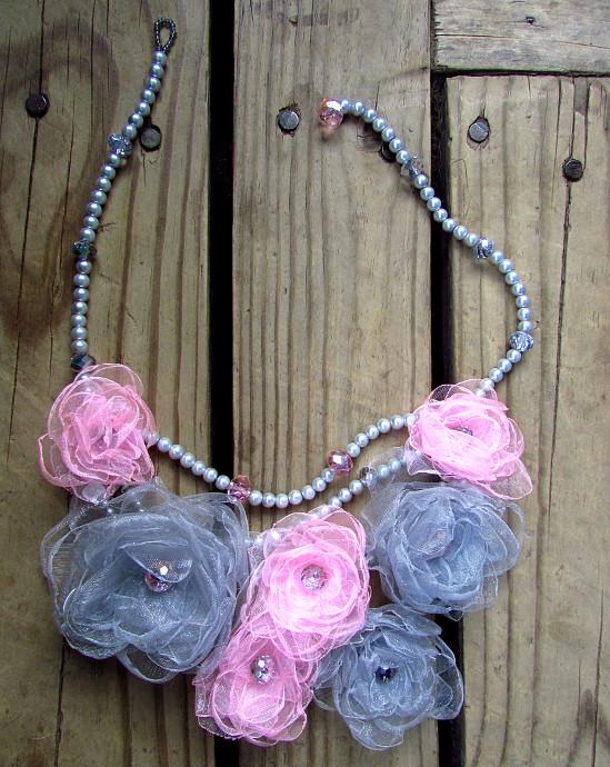 Silk Flower Necklace Tutorial