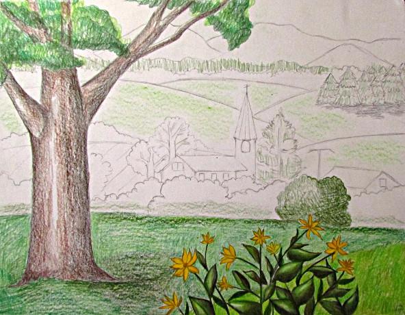 Color Pencil Landscape Drawing -