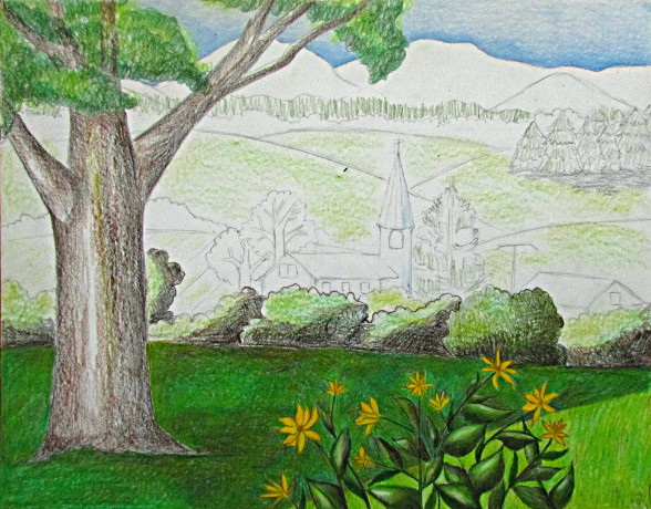 Color Pencil Landscape Drawing