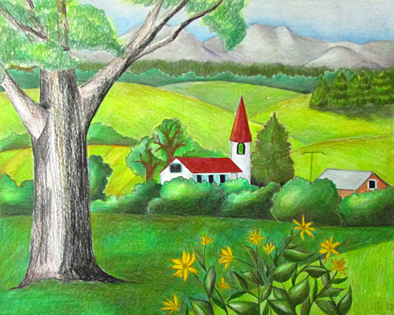 How To Draw With Watercolor Pencils Coloring Page | Color Pencil Landscape Drawing