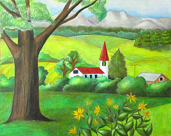 Color Pencil Landscape Drawing Happy Family Art
