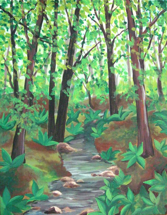 How To Paint A Forest In The Summertime