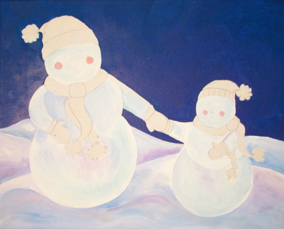 Snowman Acrylic Painting Tutorial