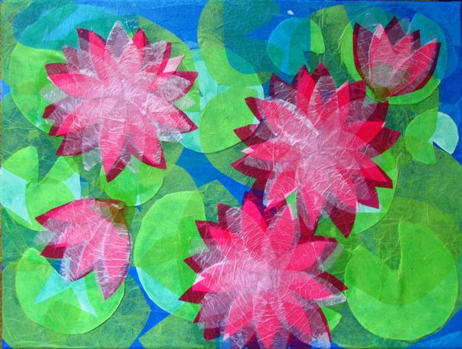 Tissue paper flower pot romeondinez tissue paper collage mightylinksfo