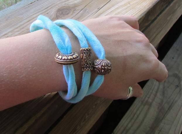 Recycled T-shirt Bracelet Tutorial