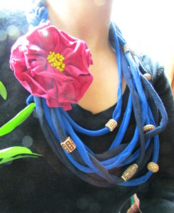 Recycled T-shirt Flower Necklace