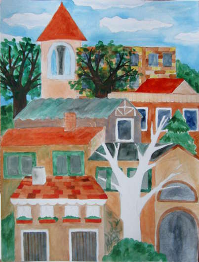 Watercolor Buildings Painting