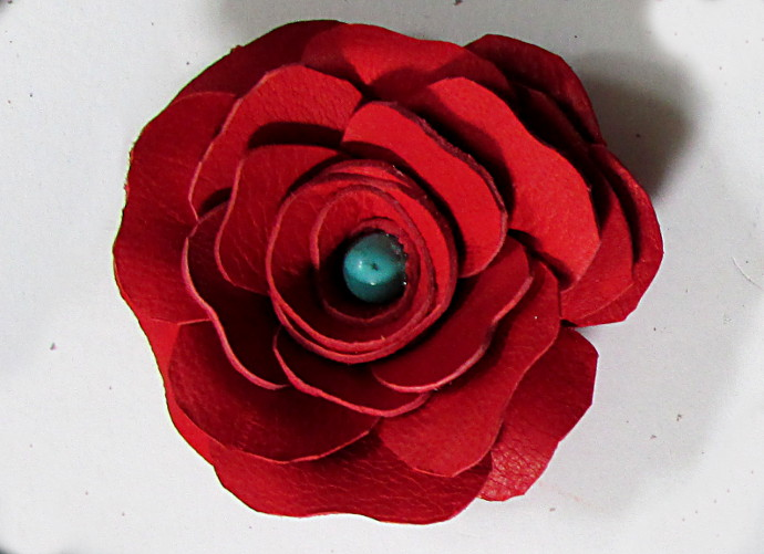 Leather Rose Necklace