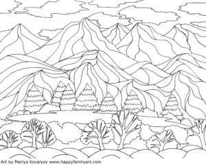 Coloring Pages Georgia O'Keeffe Inspired Landscape