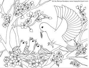 Birds Coloring Page Happy Family Art