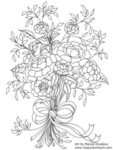 Mothers Day Flowers Coloring Page