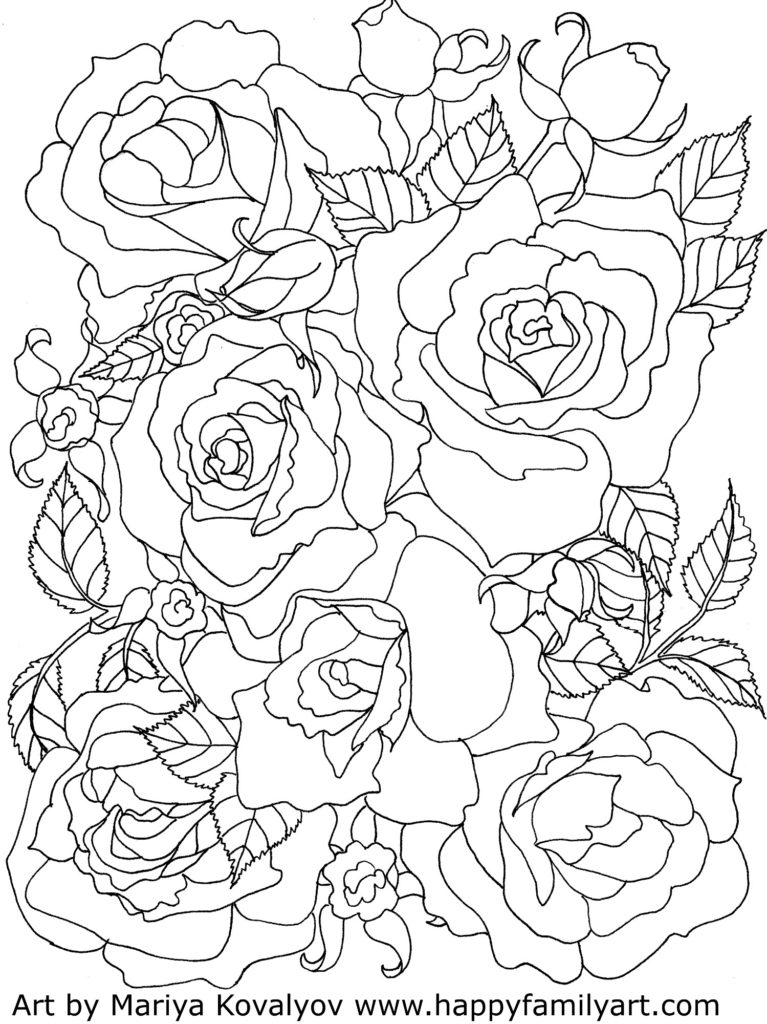 Roses Flowers Coloring Pages