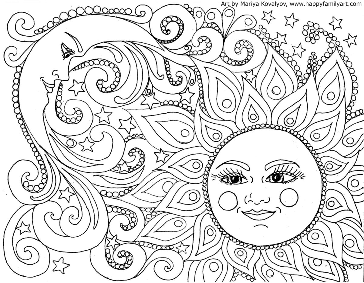 Mandala Coloring Pages A Sun Moon And Stars Mandala Coloring ...