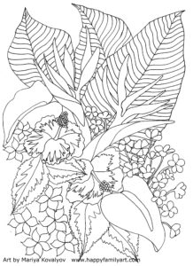 Tropical Flowers Coloring Page