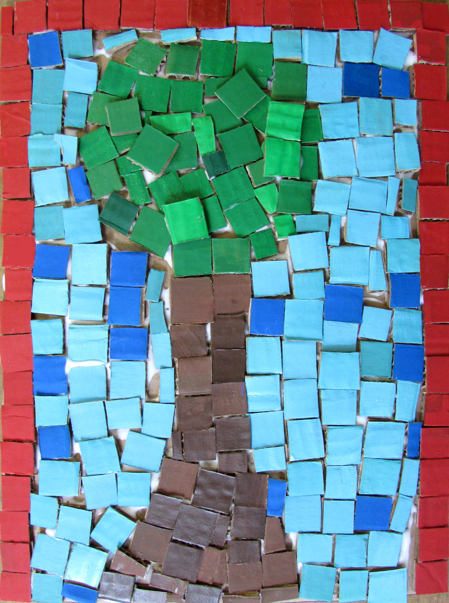 Recycled Mosaic Tiles Art Lesson Happy Family Art