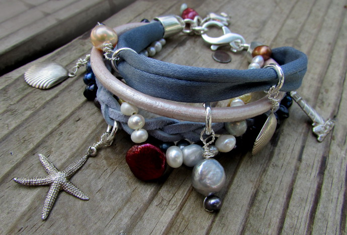 Multi Strand Leather Necklace And Bracelet