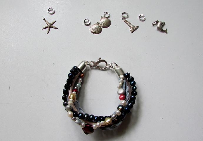 Multi-Strand Leather Necklace and Bracelet