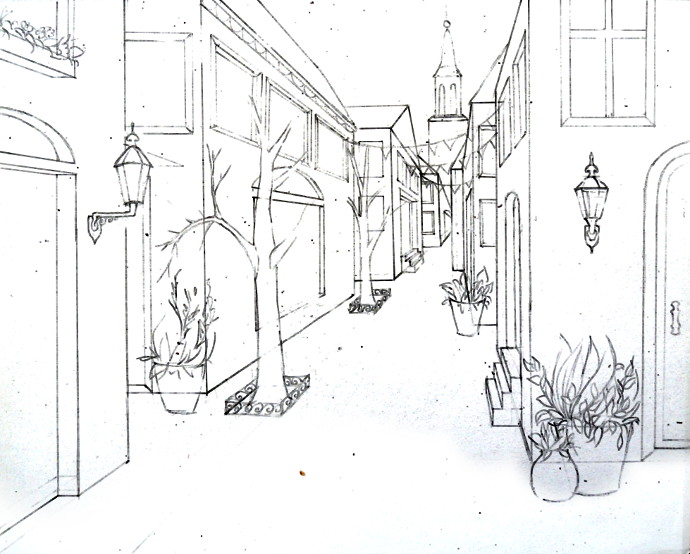 Single Point Perspective Drawing of a Street