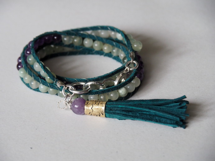 How To Make A Boho Bead and Leather Wrap Bracelet
