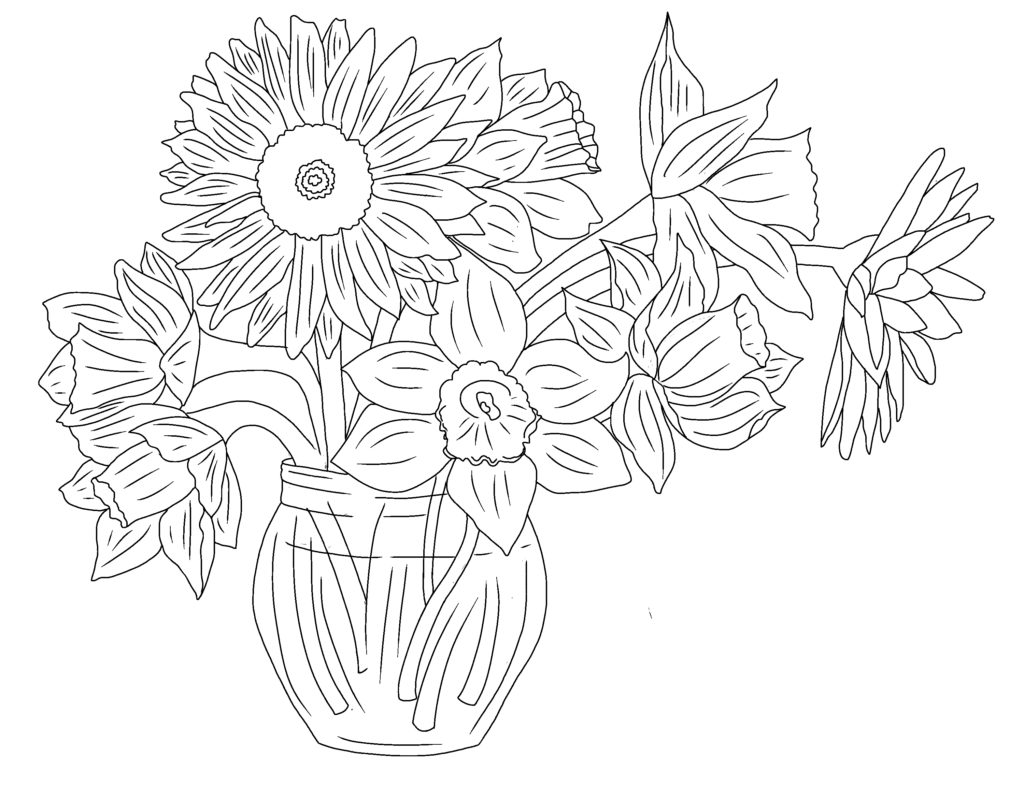 Sun and moon coloring page flowers coloring page